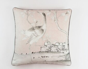 Schumacher Mary McDonald Chinois Palais Pillows Both Sides (shown in Blush with Grey Welting-comes in other colors)