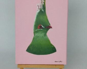 1 Realistic painting bird  exotic bird animal mixed media acrylic and original modern contemporary oil 30 X 20 canvas