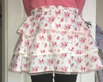 Floral ruffle apron