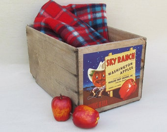 """Old Washington State Apple Crate, Fruit Crate, Wooden Box - Fun Cartoon Graphics """"Sky Ranch Apples"""""""