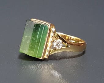 18k Green Tourmaline Diamond Ring Vintage Tourmaline Ring Size 6
