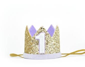 Mermaid Birthday Crown | Birthday Party Hat | First Birthday Cake Smash | Birthday Crown | 1st Birthday Crown | Gold and Purple Glitter