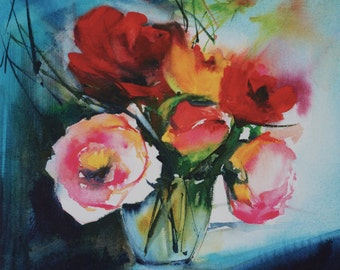 """Postcard. Reproduction watercolor flowers """"roses in the dark"""" greeting card"""