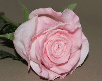 Long Stem Gorgeous Real Touch Pink Rose - Artificial Flowers, Silk Roses