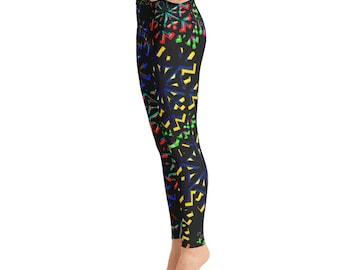 Black Colorful Yoga Leggings, Capri Yoga Pants, Sport Stretch Leggings, Fitness Workout Yoga Pants Joggers Active,Solid Colors Leggings