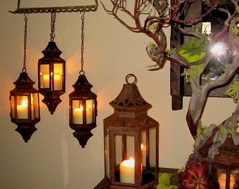 Patina hanging lantern for wedding, pathway, patio, wall, entrance home rust