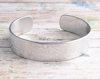 Floral rose embossed silver adjustable cuff bracelet
