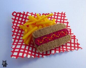 Hand Sewn Felt Hotdog Brooch
