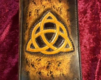 """Celtic theme """"Triquetra"""" leather book covers"""