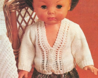 Doll Clothes Lacy Cardigan (Baby Size) Knitting Pattern