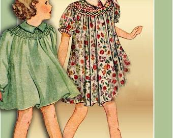 Girls 1930s Dress Pattern Smocked Bishop SIZE 4 Peter Pan Collar Full Skirt Smocked Round Yoke Raglan Sleeves Pictorial Review 8095