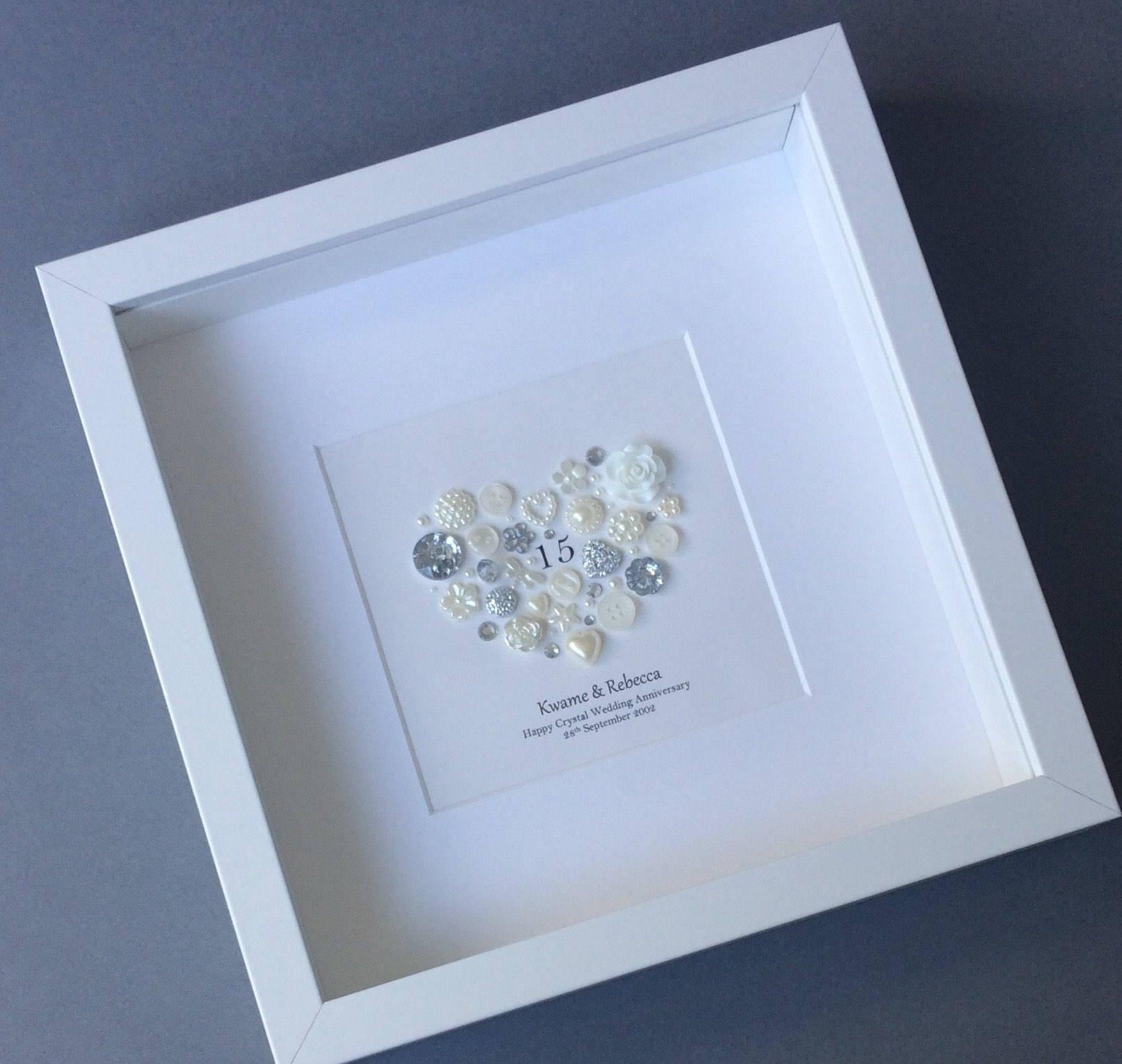 15. Hochzeitstag Geschenk Geburtstag-Kristall-Rahmen Knopf