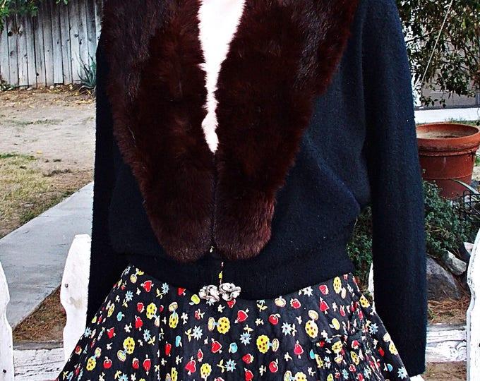 Vintage 50s Pinup Rockabilly City Fur Co. Black Brown Fur Collar Sweater Womens Long Sleeve Cardigan Sweater