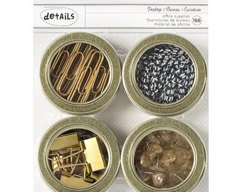 American Crafts Office Supply Set, 4 Round Magnetic Tins, Gold Paper Clips, Gold Binder Clips, Heart Shape Push Pins, Black and White Clips