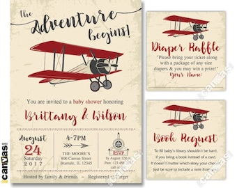 Vintage Airplane Baby Shower Invitation, Boy Baby Invite, Plane Transportation, Aeroplane, The Adventure Begins, Printable Shower BS100