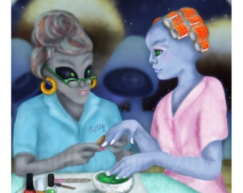 Betty's Galactic Hair and Nails Beauty Salon Print
