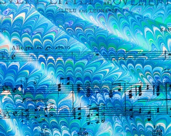 Color Movement - hand marbled vintage sheet music