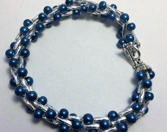 BLUE BEADED BRACELET Handmade Crochet Silver