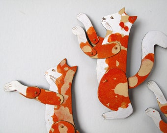 Reaching Ginger Cat  / Little addition Articulated Decoration  / Hinged Beasts Series