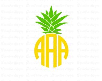 Pineapple Monogram Frame SVG, Pineapple Svg, Silhouette Cut Files, Cricut Cut Files, Svg Cut Files