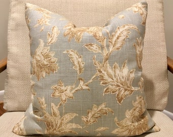 Blue Grey, Taupe and Ivory Floral Pillow Covers / Designer Linen Fabric / Handmade Custom Home Decor Accent