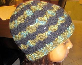 Black and Green Crochet Hat