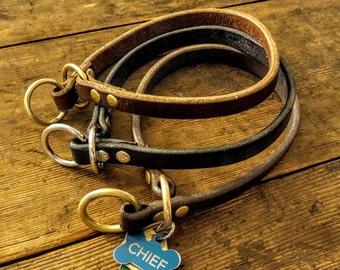 Leather Dog Collar / Leather Slip Collar / Custom Dog Collar