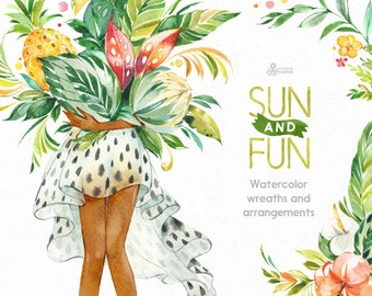 Sun&Fun. Wreaths, girl, floral arrangements. Watercolor summer clipart, flowers, travel, holiday, tropical leaves, jungle, pineapple, png