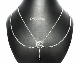 Necklace, onyx, inverted pentacle, pentagram, black, beads, pendant, goth, gothic, satan, satanic, devil, occult, satanism