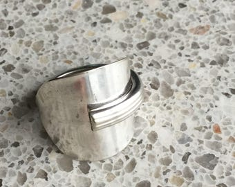 Silver spoon thumb ring