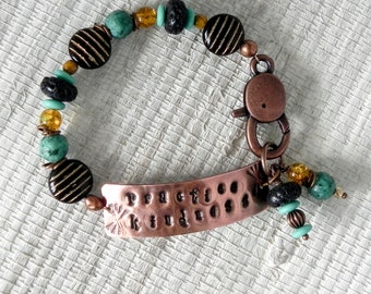 Czech Glass Beaded Bracelet with Handmade Stamped Copper Connector - Practice Kindness Hand Stamped Bracelet