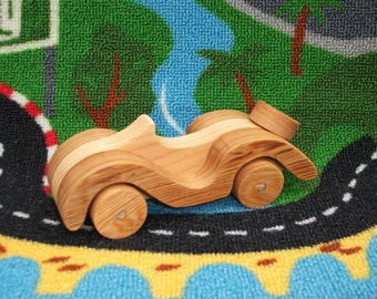 Beautiful handmade wooden classic roadster toy car