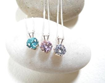 Cubic Zirconia Necklace, Cubic Zirconia Set in 925 Silver necklace, Cubic Zirconia on 925 Sterling Silver Chain Necklace