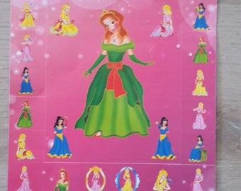 Stickers decals paper Princess multicolors for girl