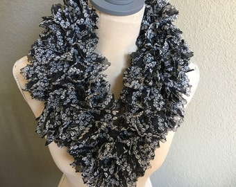 Black with white sugar skulls ruffle scarf
