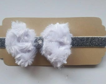 Black or White Faux Fur Bow and Silver Sparkle Headband
