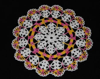 New Hand Crocheted Doily - white and pink sun multicolor