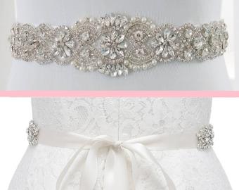 Crystal Bridal Sash, Crystal Wedding Belt, Beaded Sash, Wedding Dress Belt, Beaded Belt, Rhinestone Trim, KATELYN