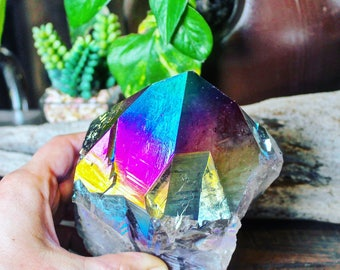 "XXL 2.5lb. Titanium Quartz Tower, 5"" HUGE Amethyst Aura Crystal Point, Wiccan Altar Supplies, RAW Aura Quartz Crystal, Rainbow Aura Quartz"