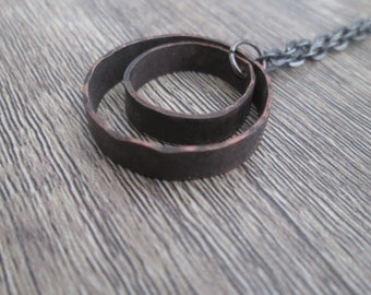 Hammered Copper Rings Necklace