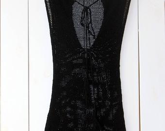 Little Open Back Dress, Cotton Dress, Little Black Dress, Knit Dress, Summer Dress, Open Back Dress, Handknitted Dress