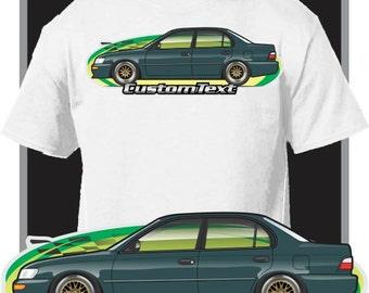 Custom Art T Shirt For 1993 94 95 96 97 Toyota Corolla E100 DX Sedan