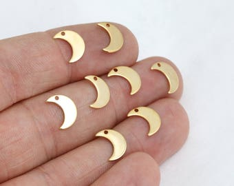 20 Pcs 24k Shiny Gold Moon Charms, Moon Necklace , Mini Moon Charms, Moon Jewelry, MTE194
