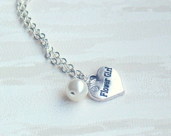 Flower Girl necklace Heart necklace Pearl Necklace Flower Girl gift Ivory Necklace Pearl necklace Flower girl jewelry Heart charm necklace