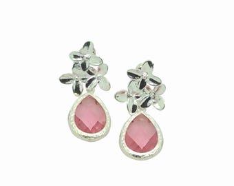 Tourmaline October Birthstone Teardrop Earrings, Bridesmaids Pink Crystal Silver Flower Earrings, Birthday Present, Cherry Blossom Earrings