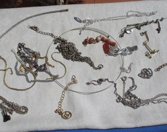 Lot Of Broken Chain Pieces Wire Wrap Choker Missing End Plus Bracelet Anklet