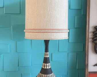Set of 2 Large Mid Century Modern Chalkware Lamps with Shades