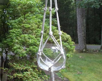 "Cotton Plant Hanger in 3/16"" 3 strand natural cord,  neutral simple, minimalist plant holder, basic off white  pot holder, natural  decor MC"