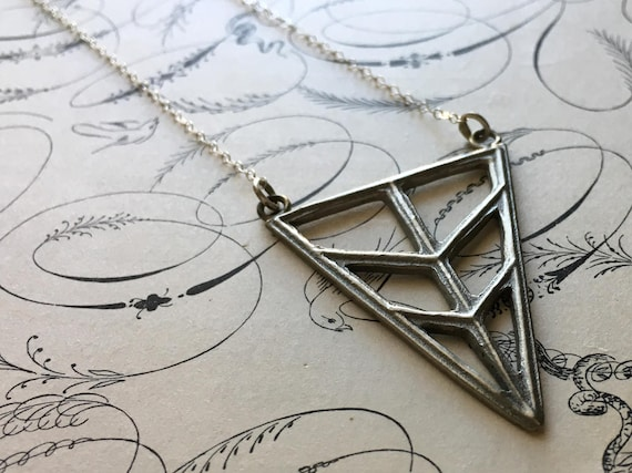 Triangle Necklace, Long Necklace, White Bronze Charm, Chevron Pendant