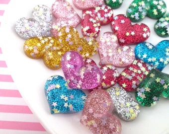 Glitter Heart Resin Cabochons, Cute Bling Cabs, #377